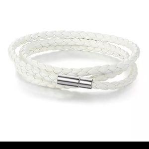 Other - White PU Braided Leather Wrap Bracelet